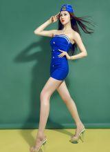 美女模特性感制服美腿写真