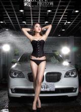 名媛美女模特洗车房惊艳酥胸写真