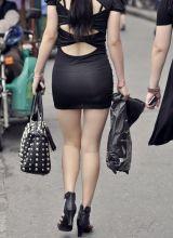 黑色超短裙极品性感美女少妇
